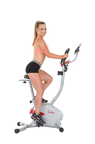Sunny Health & Fitness Magnetic Upright Bike with Tablet Holder, Grey Sunny Distributor Inc.