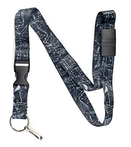 (Limeloot Black STEM Math Science Premium Lanyard with Breakaway, Release Buckle, and Flat Ring.)