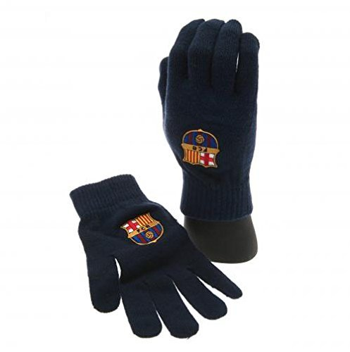 fan products of FC Barcelona Black Gloves - Knitted Adult Size - Black - Great for Men, Women and Kids - One Size Fits Most - FC Barcelona Soccer Fan Gear