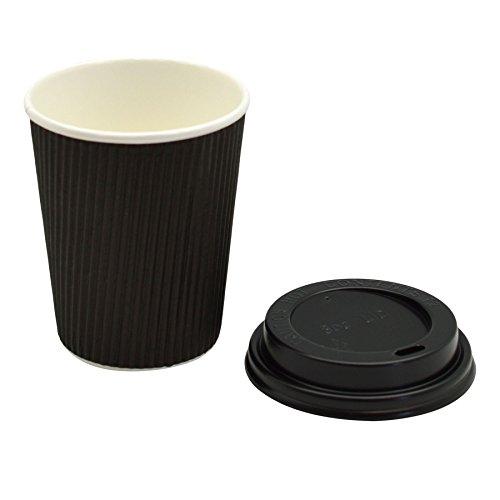 Disposable Coffee / Tea / Hot Drinks Kraft Ripple Black Cup & Black Lid - 8oz / 230ml - Pack Of 100 by Rink Drink