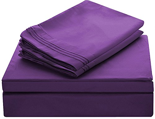 - Lux Decor Collection Bed Sheet Set - Brushed Microfiber 1800 Bedding - Wrinkle, Stain and Fade Resistant - Hypoallergenic - 4 Piece (Queen, Embroidery Purple)