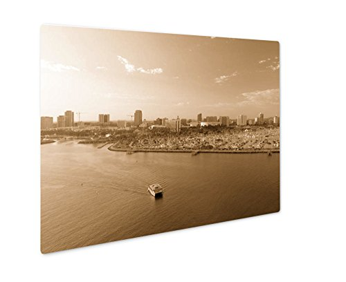 Ashley Giclee Aerial View Of Long Beach Ca, Wall Art Photo Print On Metal Panel, Sepia, 16x20, Floating Frame, AG6440053
