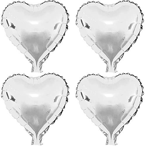 (22 pcs Silver Heart Shape Foil Mylar Balloons for birthday party decorations, Wedding decorations, engagement party, celebration, holiday, show, party activities.(size:18