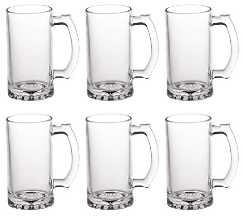 Clear Glass Beer Mug - 6-Pack 18-Ounce Large Beer Glasses with Handle, Traditional Drinkware Design, Ideal for Indoor Outdoor Use, Father's Day Gifts, 6 Inches Tall