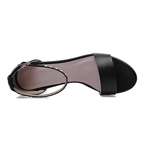 AllhqFashion Mujeres Hebilla Abierta Tacón ancho Microfibra Sólido Sandalia Negro
