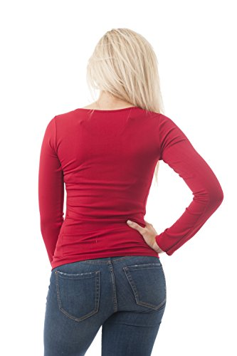 Camiseta de manga larga, de cuello redondo, talla única Rosso