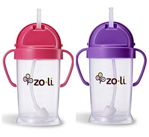 9 Ounce Sippy Cup (Zoli Baby Bot XL Straw Sippy Cup 9 oz 2 Pack, Pink/Purple)