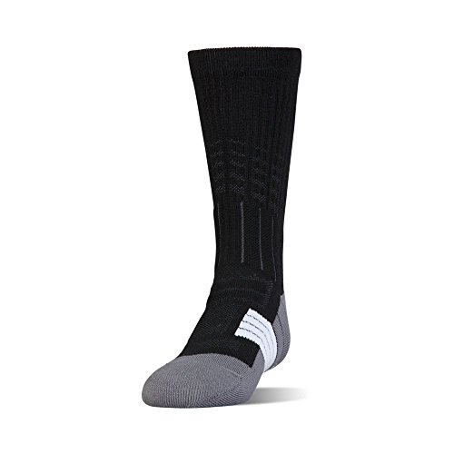 Under Armour Boys Unrivaled Crew Single Pair Socks, Black/White, Youth Large