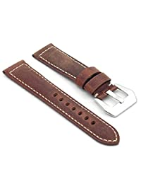 DASSARI Salvage Rust Vintage Leather Watch Band for Panerai 26/24 26mm