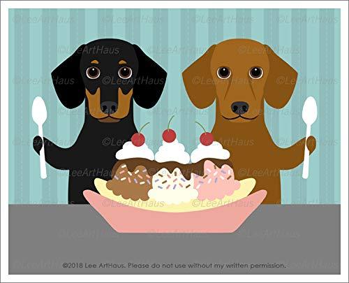 - 603D - Two Dachshund Dogs Eating Banana Split Ice Cream Sundae UNFRAMED Wall Art Print by Lee ArtHaus