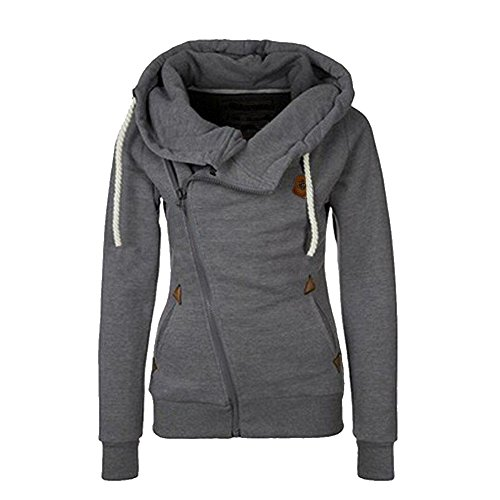 Star Fashion Women Gray Turn-down Collar Jacket Winter Coat Hoodies-M