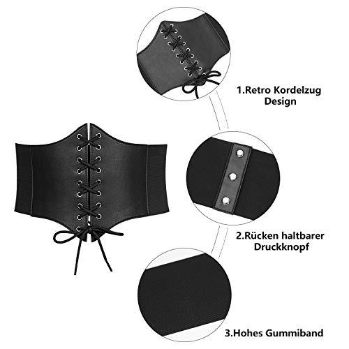 WERFORU Frauen Schwarz Tied Waspie Gürtel, Schnürgürtel, Korsett elastische Taille Gürtel