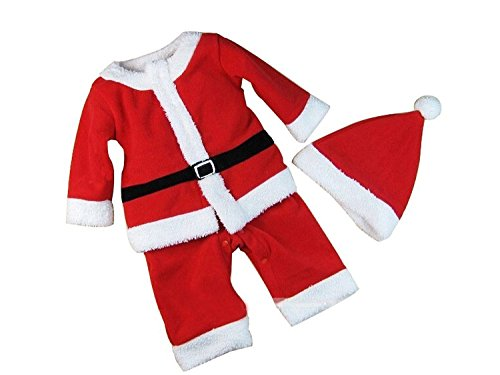 Baby Boys Xmas Santa Claus All-in-one Costume Romper Outfit + Hat, 2-pc (95/24-36 Months) -
