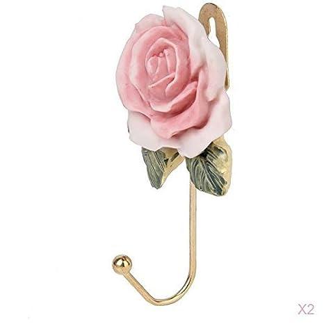 Compra Isuper 2 Piezas de Resina Encantadora Ganchos para Colgar Ropa Sombrero Toalla Robe montado en la Pared Perchas Ganchos en Forma de Flor de 3D Rose ...