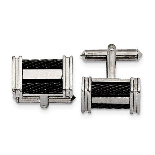 - JE Titanium Black IP-plated Wire Cuff Links
