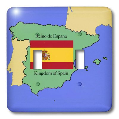 3dRose lsp_40068_2 The Map and Flag of Spain with The Kingdom of Spain Printed in Both English and Spanish Double Toggle Switch by 3dRose