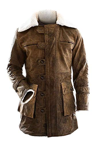 Mens Distressted Brown Leather Fur Coat - Leather Pea Coats for Men - Winter Coats (Brown - Distressed Costume Cosplay Coat, S/Body Chest 38