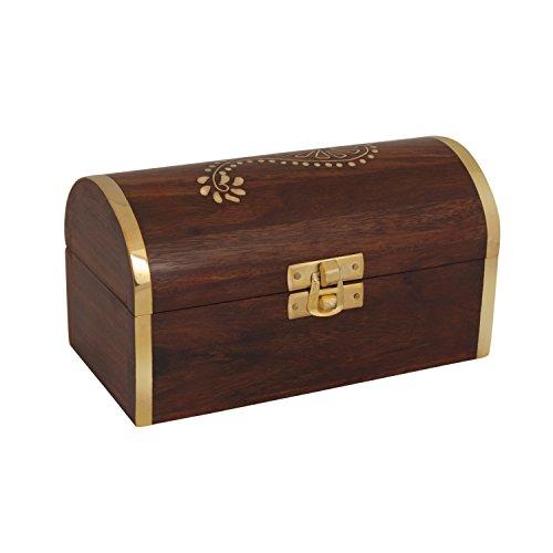 storeindya, Handmade Wooden Jewelry Box - Keepsake Box - Storage Organizer Multipurpose Box - Beautiful Brass Inlay Work - Treasure Chest - Trinket Holder for Women Men Girls (Pirate (Indian Armoire)