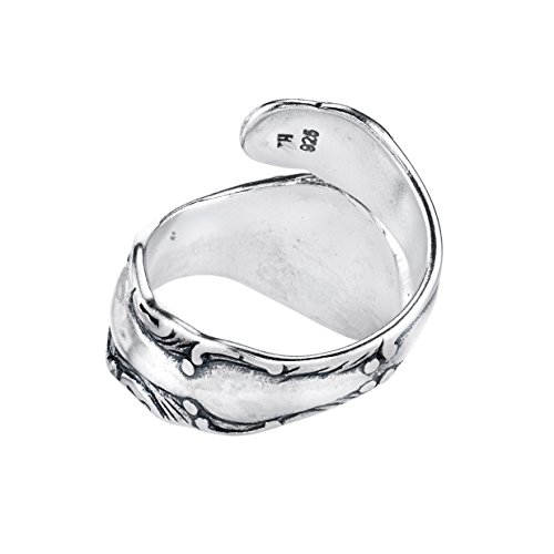 Sterling Silver Swirl Motif Spoon Style Adjustable Ring