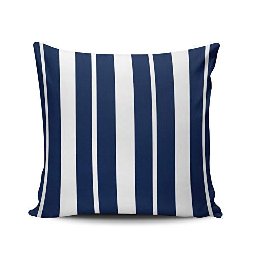 Fanaing Navy Blue and White Striped Pillowcase Home Sofa Decorative 26x26 Inch European Throw Pillow Case Decor Cushion Covers Double-Sided Printed