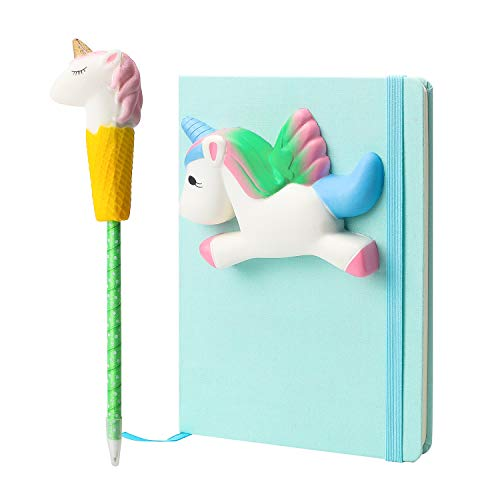 BeYumi Unicorn Diary Notebook Gel Pen Squishy Set, Cream Scented Slow Rising Squishy Journal Diary for Squishy Fans and School Students