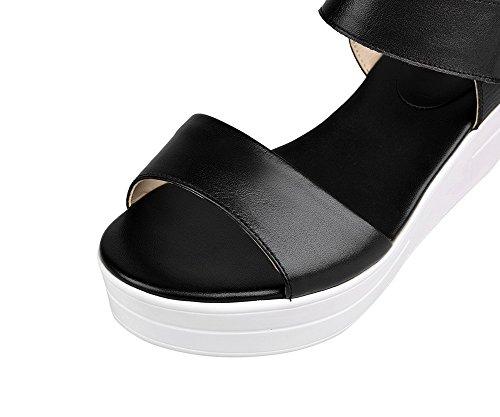 AllhqFashion Mujeres Sólido Velcro Puntera Abierta Plataforma Sandalia Negro