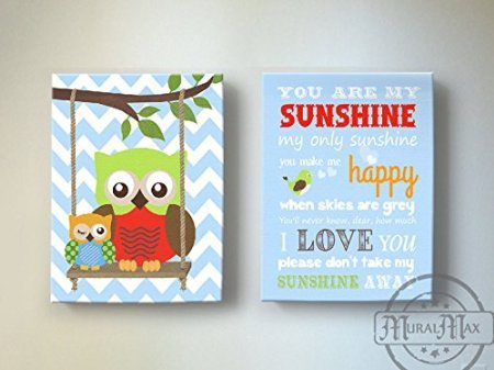 MuralMax - You Are My Sunshine Theme - Chevron Canvas Nursery Décor - Set Of 2 - Size - 20 x 24 by MuralMax