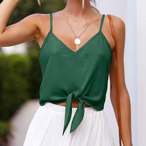 8ba3eb76a68 Tanhangguan Ladies Crop Tops Summer Shirt Womens Teen Girls Camisole Tank  Blouse Green by Tanhangguan Womens