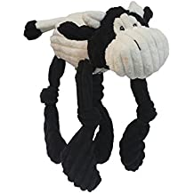 Multipet CORDUROY CRITTERS 9 inch Soft Corduroy Toys with Dangly Arms/Legs that Squeak - Cow