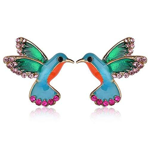 MINIVOG Women's Stud Earrings Enamel Crystal Hummingbird Bird Colorful Metal Animal Earrings