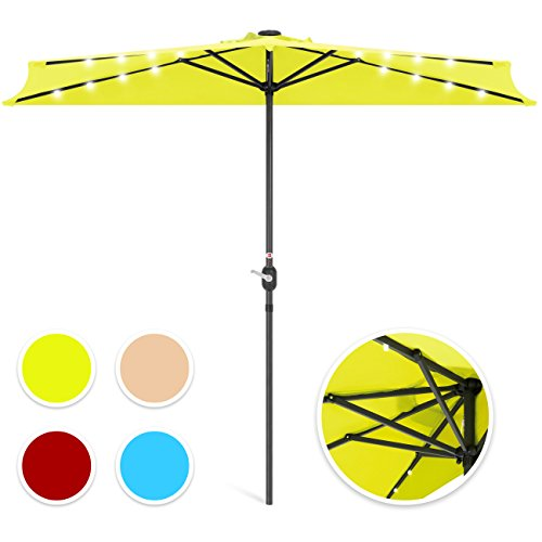 Best Choice Products 8.5ft Solar LED Half Umbrella for Backyard, Patio, Porch w/Crank - Light Green (Patio Half Wall)