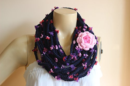 Navy Infinity Scarf-crochet Infinity Scarf -Chain Crochet Scarf with Rose Brooch