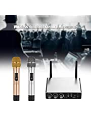 Lixada Wireless Handheld Microphone System with 2 Cordless Mics and Receiver Box Live Equipment Optional 25 Channels UHF Band Wire-Free Microphones Handheld Mic Kit for Karaoke Conference