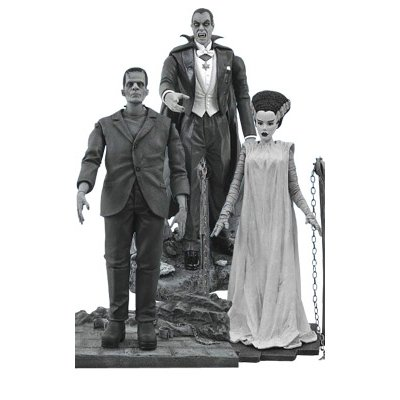 Diamond Select Toys Universal Monsters Black-and-white Legacy Series 2 Figure Set : Dracula, Frankenstein and the Bride of Frankenstein Numbered SET