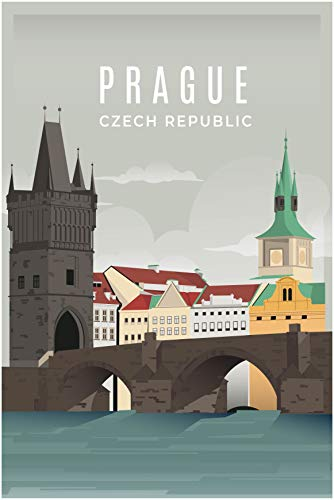 EzPosterPrints - Retro World Famous City Posters - Decorative, Vintage, Retro, Grunge Travel Poster Printing - Wall Art Print for Home Office - Prague-2, Czech Republic - 12X18 inches
