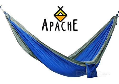 Apache Outdoor Nylon Camping Hammock for Two, Premium, Lightweight, Compact & Portable for Camping, Hiking, Backyard Lounging & More Made of Durable Parachute Nylon