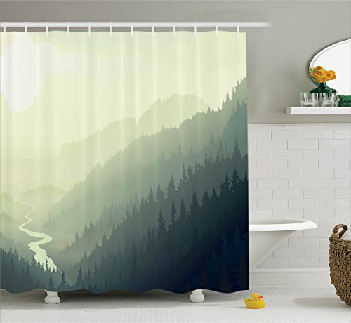 Ambesonne Apartment Decor Collection, Aerial View of Wild Pine Trees on the Valley with River in Morning Fog Mist Artwork, Polyester Fabric Bathroom Shower Curtain Set with Hooks, Yellow Green