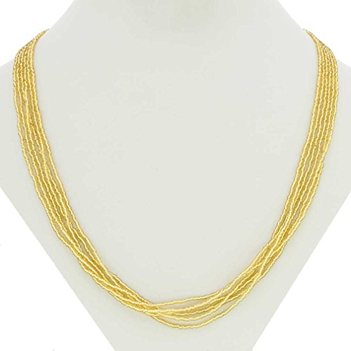 GlassOfVenice Murano Glass Gloriosa 6 Strand Seed Bead Necklace - Gold ()