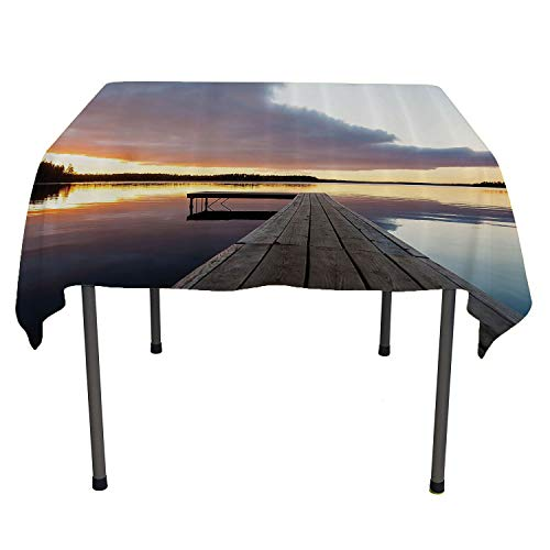 House Decor, Table Cover Spillproof TableclothView of Sunset Over an Old Oak Deck Pier and Calm Water of The Lake Horizon Serenity, Home Decoration Outdoor, 50x50 Inch Multicolor