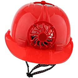 MagiDeal Cabeza Solar de Sombrero Casquillo de Trabajo Casco de Seguridad Accionada Protege Con Ventilador de Enfriamiento - Rojo