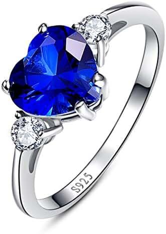 Bonlavie Women's Created Blue Sapphire 925 Sterling Silver Heart Valentine Promise Ring