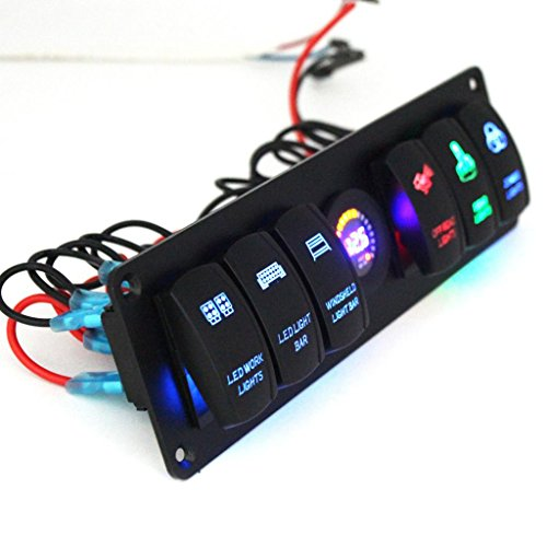 MagiDeal Universal 6 Gang 12V Car Marine RV Rocker Switch Panel Circuit Breaker LED Voltmeter ()