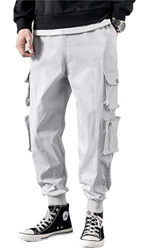 - MOKEWEN Men's Casual 8 Pocket Harem Pants with Drawstring White 31-32