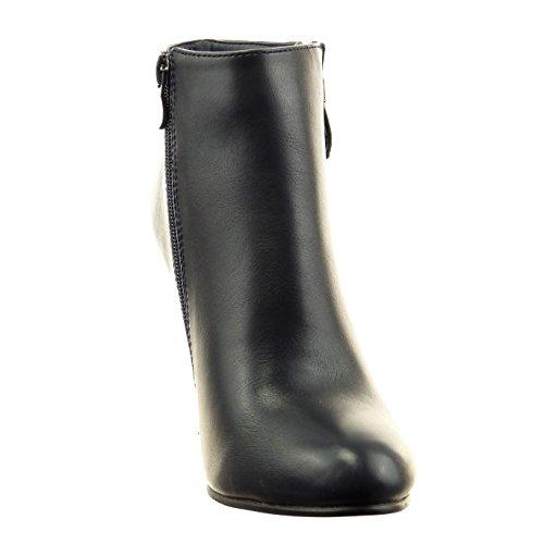 Sopily - Scarpe da Moda Stivaletti - Scarponcini low boots alla caviglia donna zip Tacco zeppa 9 CM - Blu