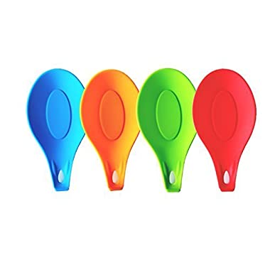 iNeibo Kitchen Silicone Spoon Rest, Set of 4, (Colorful,Big Size)