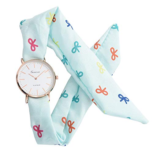 Sodoop Women's Dress Watches, Luxury Breathable Flower Cloth Design Watch,Summer Sweet Bracelet Quartz Watch with White Dial,Girl