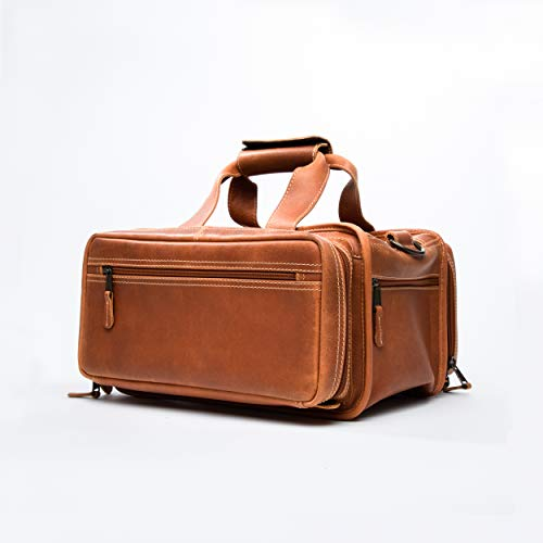 Bellagio-Italia Leather Gun Range Bag for Handgun and Gun Accessories - Multiple Pockets for Gun Bag, Loops for Ammo, and Padded Pockets for Mag Clips - Classic Shooting Bag and -