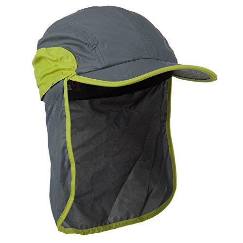 UV Sun Neck Flap Cap - Grey Citron - E4hats Flap Hat Nylon