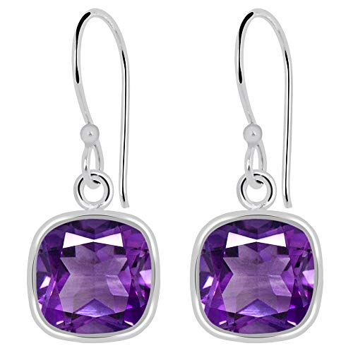 - Checkerboard Natural Purple Amethyst 925 Sterling Silver Dangle Earrings, Genuine Gemstones, February Birthstone, Handcrafted, Perfect Gift For Girls And Women's (7 Mm Cushion, 3.00 Cttw)