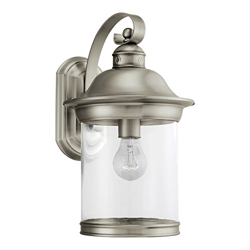 Sea Gull Lighting 88082-965 Hermitage One-Light Outdoor Wall Lantern with Clear Glass Shade, Antique Brushed Nickel Finish - 9' Outdoor Wall Mount